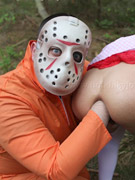 Anal sex hungry babe in little red riding hood costume gets her ass fisted by masked guy in the woods.