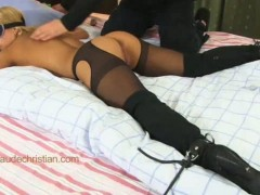 Adorable blone girl nikky in crotchless pantyhose lies on her stomach all  tied. vibrating sex